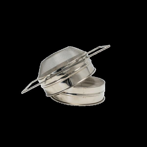 Filtro convesso doppio 20,5 cm inox con manici estensibili per filtraggio miele