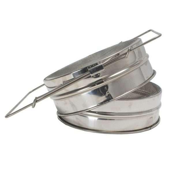 Filtro piatto doppio 20,5 cm inox con manici estensibili per filtraggio miele