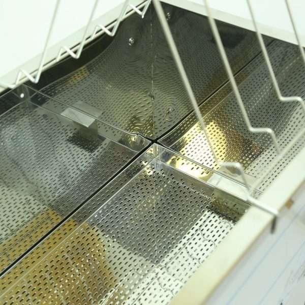 Banco per disopercolare, 1500mm, rinforzato ai bordi,fondo trapezoidale, inox