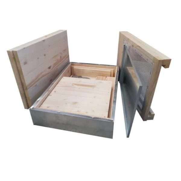 Arnia 8 favi cubo lamellare, kit con viti, mascherina in legno, fondo antivarroa