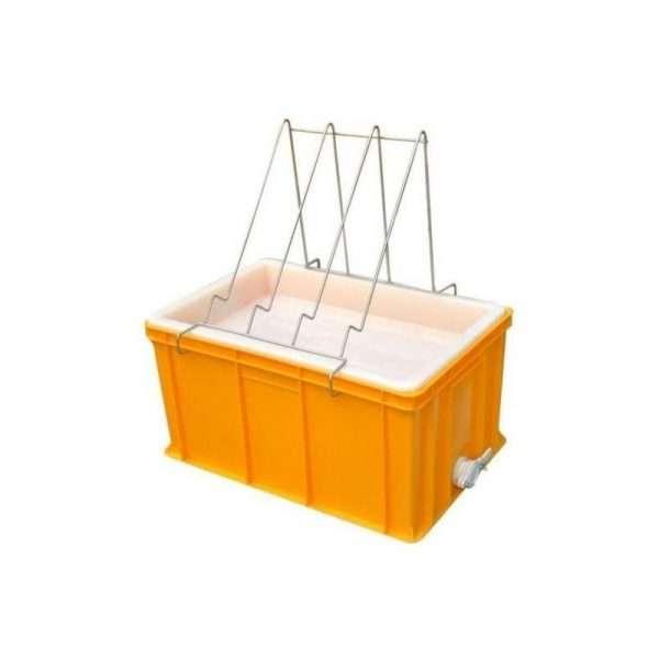 Banco per disopercolare in plastica, altezza 30 cm, con leggio e vassoio in plastica