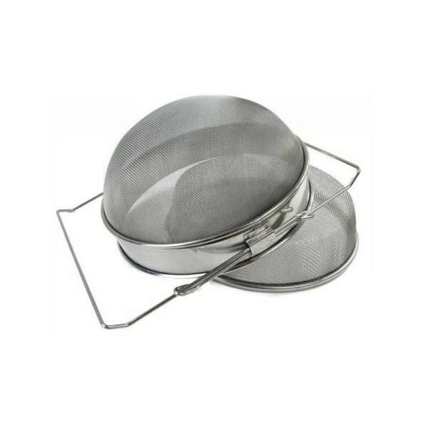 Filtro convesso doppio 24 cm inox con manici estensibili per filtraggio miele