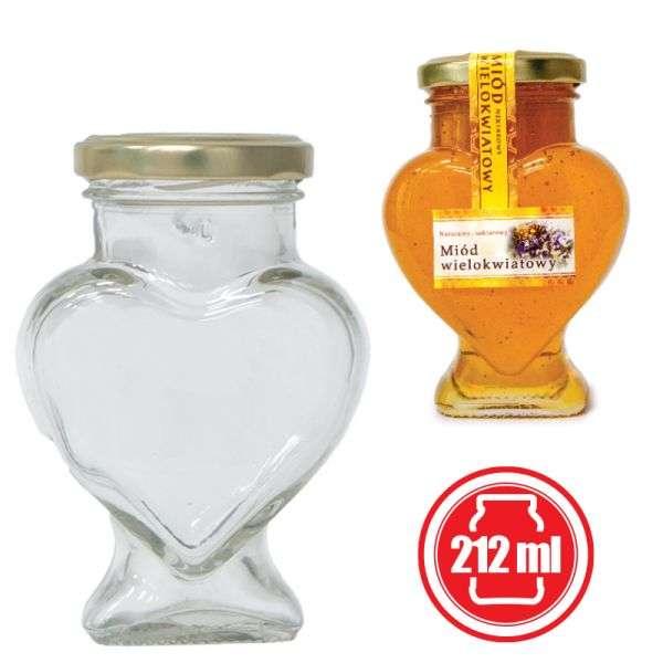 Vaso 280g, modello cuore, compreso capsula color oro, conf. 15 pezzi