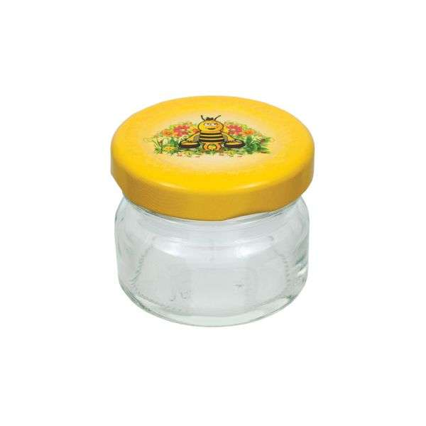 Vaso 40g, modello tondo, compreso capsula disegno ape, conf. 30 pezzi