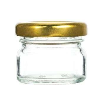 Vaso 40g, modello tondo, compreso capsula color oro, conf. 30 pezzi