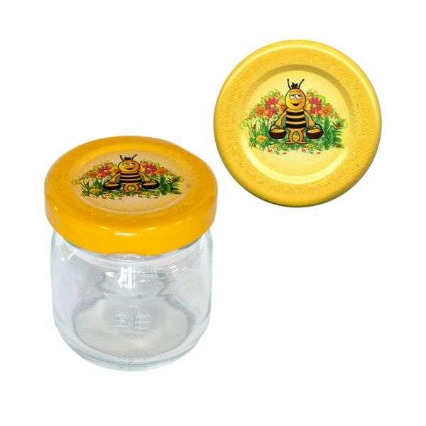 Vaso 50g, modello tondo, compreso capsula disegno ape, conf. 30 pezzi