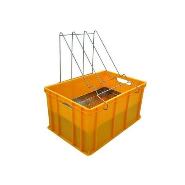 Banco per disopercolare in plastica, altezza 30 cm, con leggio e vassoio in acciaio e valvola scarico