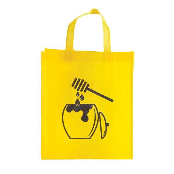 Borsa miele ecologica gialla, disegno vaso miele