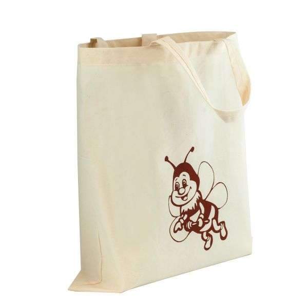 Borsa miele ecologica beige, disegno ape