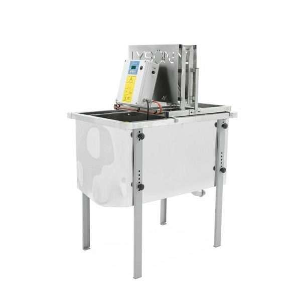 Disopercolatrice verticale inox, manuale, riscaldamento elettrico da 30° a 95°, 220V, montata su banco da 750mm incluso