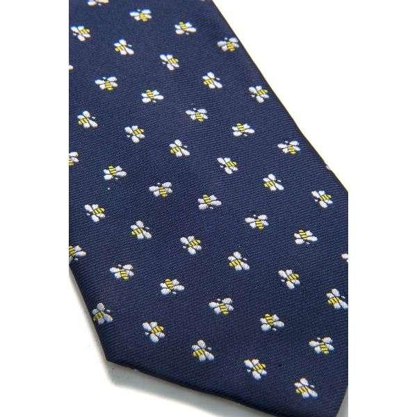 Cravatta blu con api