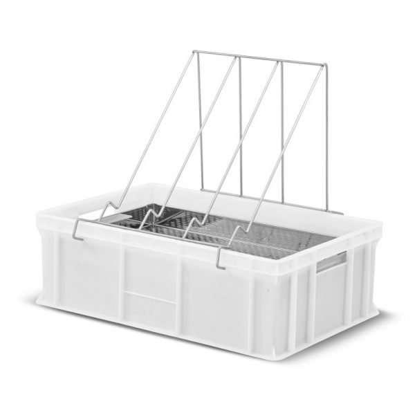 Banco per disopercolare in plastica, altezza 20 cm, con leggio e vassoio in acciaio