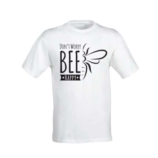 T-Shirt in cotone di alta qualità con stampa Bee Happy
