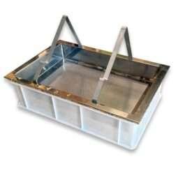 Banco per disopercolare in plastica, con leggio e vassoio in acciaio (cm 60x40x18h) senza valvola