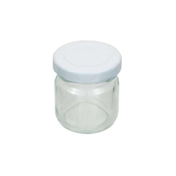Vaso 50g, modello tondo, compreso capsula color bianco, conf. 30 pezzi