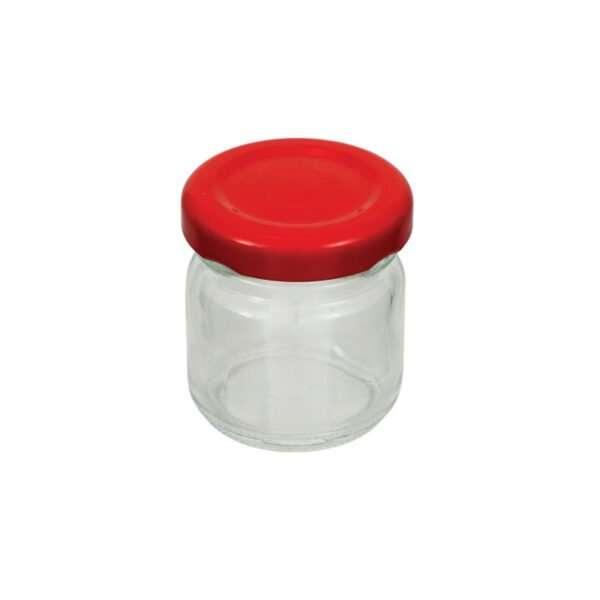 Vaso 50g, modello tondo, compreso capsula color rosso, conf. 30 pezzi