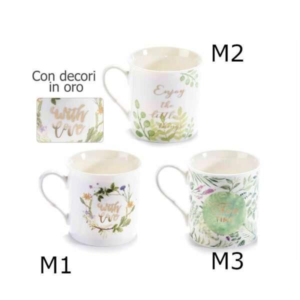Tazza mug porcellana decorata con foglie e scritta in oro