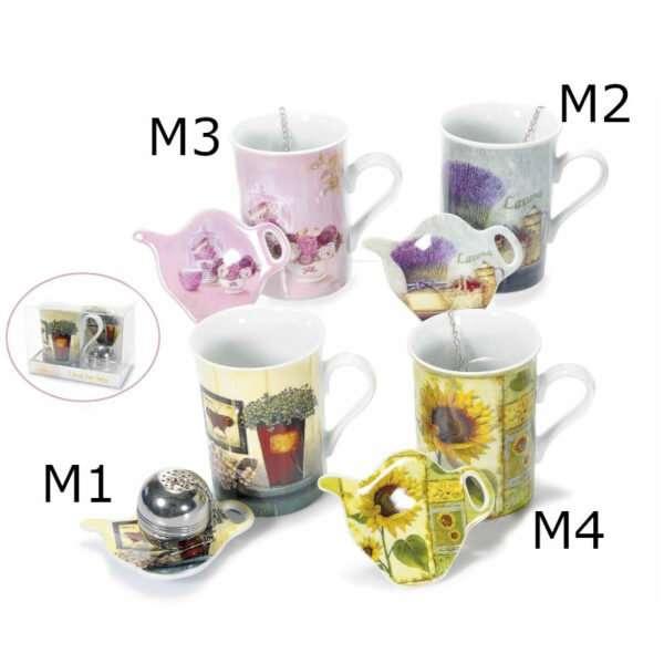 Set tazza, piattino in porcellana c/filtro in metallo
