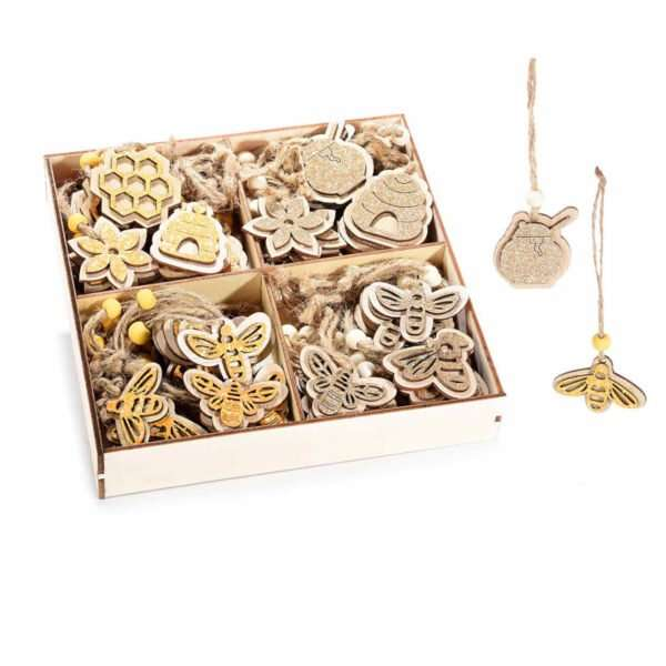 Espositore 72 decorazioni api e miele in legno glitterato