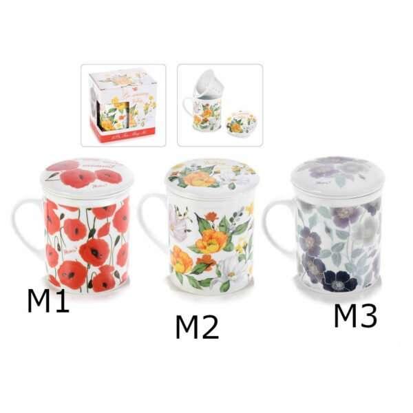 """Tazza tisaniera """"Flowers"""" in porcellana con scatola regalo"""